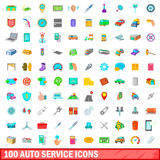 100 auto service icons set, cartoon style. 100 auto service icons set in cartoon style for any design vector illustration royalty free illustration