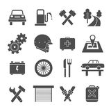 Auto service icons set. In flat style. Dark gray on a white background Royalty Free Stock Photos