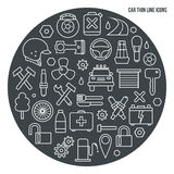 Auto service icons set. In thin line style. White print on a dark background Royalty Free Stock Photo