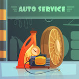 Auto Service Illustration. Auto service equipment cartoon background with oil and wheel vector illustration Stock Photography