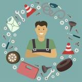Auto service illustration. Stock Photo