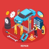 Auto Service Isometric Illustration Royalty Free Stock Photography