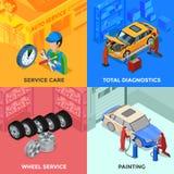 Auto-Service-isometrisches 2x2 Konzept des Entwurfes lizenzfreie abbildung