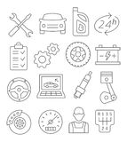 Auto Service Line Icons. Gray Auto Service Line Icons on white Stock Images