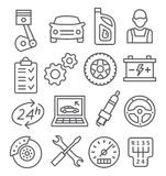 Auto Service Line Icons Royalty Free Stock Image