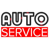 Auto service logo template - asphalt road with small vehicles Royalty Free Stock Image