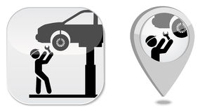 Auto service point marker icon Stock Images