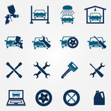 Auto service and repair flat icon set. Vector car fix and car paint logo symbols Royalty Free Stock Image