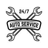 Auto service. Service station. Car repair. Design element for logo, label, emblem, sign. Vector illustration Royalty Free Stock Photography