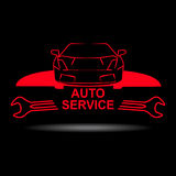 Auto service sign. With car silhouette and spanner Royalty Free Stock Photography