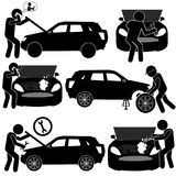 Auto Service Stick Figure Pictogram. Auto Service Background with Car Problems Fixing by Specialists. Stick Figure Pictogram Icon Stock Photo