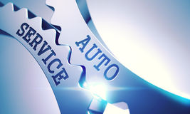 Auto Service - Text on the Mechanism of Metallic Cog Gears. 3D. Stock Images
