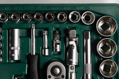 Auto service tools and ratchet sets. Royalty Free Stock Photo