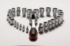 Auto service tools and ratchet sets. Royalty Free Stock Images