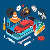 Auto Service And Tuning Illustration. Auto service and tuning isometric concept with spare parts symbols vector illustration Royalty Free Stock Image