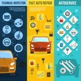 Auto Service Vertical Banner Set Stock Photos