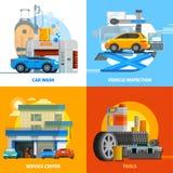 Auto Service 2x2 Design Concept Set Stock Images