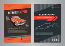 Auto Services Business Flyer layout templates, automotive repair magazine cover, car repair shop brochure, mockup flyer. stock illustration