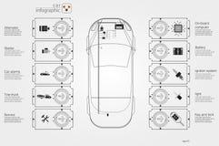 Auto'sgebruikersinterface Abstract virtueel grafisch aanrakingsgebruikersinterface Infographic auto's royalty-vrije illustratie