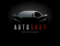 Auto shop car logo design with concept sports vehicle silhouette Royalty Free Stock Photos