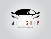 Auto shop car logo design with concept sports vehicle silhouette Stock Image