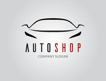 Auto shop car logo design with concept sports vehicle silhouette. Auto shop car logo design with concept sports vehicle icon silhouette on light grey background Stock Photo