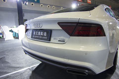 Auto show — Audi A7 automobile tail light close-up. The 2017 Chongqing lnternational Auto Consumption Exhibition.Audi A7 automobile tail light close-up Stock Photos