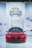 Auto show 2015 för Tesla modell S Detroit Arkivfoto