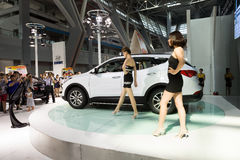 Auto show. Liuzhou, China - Oct 6,2013:Models performing in auto show at Hyundai Motor Area during the 2013 China-ASEAN(Liuzhou) Automobiles Exposition Stock Photo