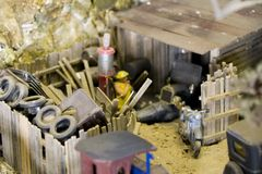 auto skräp little reparation shoppar gården Royaltyfria Bilder