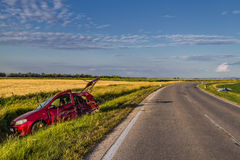 Auto'songeval op de weg. royalty-vrije stock fotografie