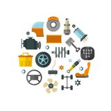 Auto spare parts, car repair service, vehicle technology vector concept Stock Photo