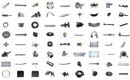 Auto spare parts car on the white background. Set with many isolated items for shop or aftermarket Royalty Free Stock Images