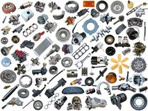 Auto spare parts car on. The white background. Set with many isolated items for shop or aftermarket royalty free stock photos