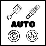 Auto spare parts. Gear and spark plug, wheel and radiator royalty free illustration