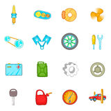 Auto spare parts icons set, cartoon style Royalty Free Stock Images