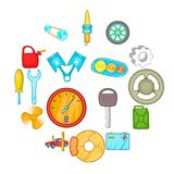 Auto spare parts icons set, cartoon style. Auto spare parts icons set in cartoon style. Car maintenance set collection vector illustration Royalty Free Stock Photos