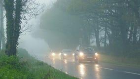 Auto'spas door Hout in Regen en Mist stock videobeelden