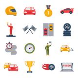 Auto Sport Icon Flat. Auto sport grand prix icon flat set with bolide trophy helmet isolated vector illustration Royalty Free Stock Photo