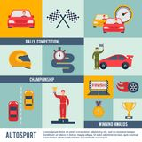 Auto Sport Icon Flat. Auto sport flat icon set with rally competition championship winner awards elements isolated vector illustration Stock Photography