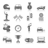 Auto Sport Icons Set. Auto sport black icons set with fire wheel start flag cup isolated vector illustration Stock Image