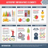 Auto Sport Infographics. Set with bolide trophy flag automobile competition charts vector illustration Stock Photography