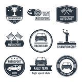 Auto Sport Label. Auto sport black label set with championship motorsport racing car emblems isolated vector illustration Royalty Free Stock Image