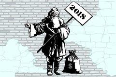 auto-stoppeuse de Santa Claus de la nouvelle année 2018 avec un sac d'argent Images stock