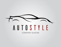 Auto style car logo design with concept sports vehicle silhouette. Auto style car logo design with abstract concept sports vehicle icon silhouette on light grey Stock Image