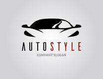 Auto style car logo design with concept sports vehicle silhouette. Auto style car logo design with concept sports vehicle icon silhouette on light grey Royalty Free Stock Images