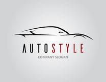 Auto style car logo design with concept sports vehicle silhouette. Auto style car logo design with concept sports vehicle icon silhouette on light grey Stock Image