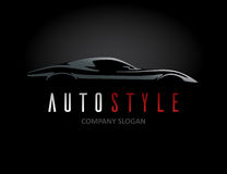 Auto style car logo design with concept sports vehicle silhouette Royalty Free Stock Images