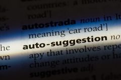 Auto-suggestion. Word in a dictionary.  concept Royalty Free Stock Photography