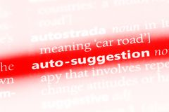 Auto-suggestion. Word in a dictionary.  concept stock image